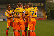 Wycombe Wanderers celebrate Wycombe Wanderers midfielder Garry Thompson goal during the The FA Cup match between FC Halifax Town and Wycombe Wanderers at the Shay, Halifax, United Kingdom on 8 November 2015. Photo by Simon Davies.
