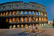 Roma 12 Maggio 2012 <br /> Bicchieri di birra lasciati davanti al Colosseo dopo una notte di movida<br /> Rome May 12, 2012.<br /> Beer glasses  in front of the Colosseum after a night of nightlife