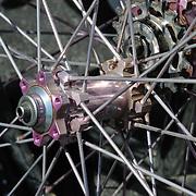 Pink hubs on wheels for sale at spring 2011 Bicycle Swap Meet, Tucson, Arizona. Bike-tography by Martha Retallick.