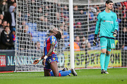 Crystal Palace's Pape N'Diaye Souaré rues a missed chance at goal during the Barclays Premier League match between Crystal Palace and Chelsea at Selhurst Park, London, England on 3 January 2016. Photo by Shane Healey.