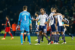 Goalscorer Saido Berahino of West Brom shakes hands with Lukasz Fabianski of Swansea City after West Brom win 2-0 - Photo mandatory by-line: Rogan Thomson/JMP - 07966 386802 - 11/02/2015 - SPORT - FOOTBALL - West Bromwich, England - The Hawthorns - West Bromwich Albion v Swansea City - Barclays Premier League.