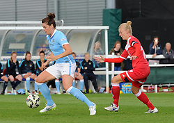 Manchester City Women's Jennifer Beattie shields the ball from Bristol Academy captain Sophie Ingle - Photo mandatory by-line: Paul Knight/JMP - Mobile: 07966 386802 - 18/07/2015 - SPORT - Football - Bristol - Stoke Gifford Stadium - Bristol Academy Women v Manchester City Women - FA Women's Super League