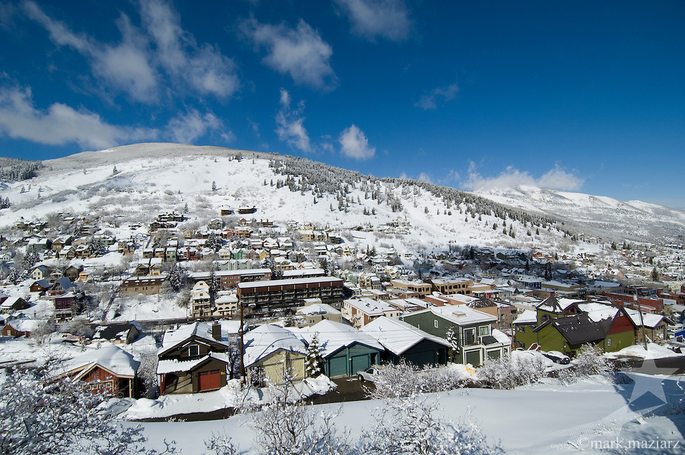 clear winter morning panorama of southern end of Old Town Park City Utah