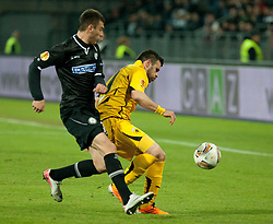 14.12.2011, UPC Arena, Graz, AUT, UEFA Europa League , Sturm Graz vs AEK Athen FC, im Bild Dimitris Sialmas (AEK Athen FC, Forward, #11) und Milan Dudic (SK Puntigamer Sturm Graz, #12) // during UEFA Europa League football game between Sturm Graz and AEK Athens FC at UPC Arena in Graz, Austria on 14/12/2011. EXPA Pictures © 2011, PhotoCredit: EXPA/ E. Scheriau