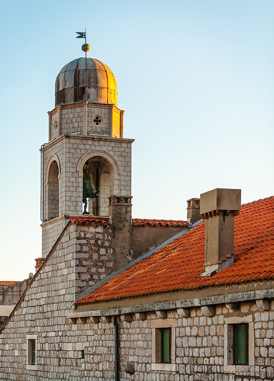 Luza, the city bell tower, at sunset. <br /> <br /> Dubrovnik, Croatia, serves as the official setting of &quot;King's Landing&quot; from the popular TV show &quot;Game of Thrones&quot;.