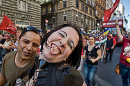 Roma 7 Giugno 2014<br /> La Sfilata del Gay Pride, la giornata dell' orgoglio omosessuale per le vie della città.<br /> <br /> Rome, Italy. 7th June 2014 <br />  The annual Gay Pride parade took place in Rome to demand more rights and against homophobia. Members of Italian LGBTQI communities and supporters of gay rights marched through Rome to demand more rights and against homophobia.