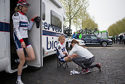 Allie Dragoo (USA) of Cervélo-Bigla Cycling Team gets a quick leg rub before the Amstel Gold Race Ladies Edition - a 121.6 km road race, between  Maastricht and Valkenburg on April 16, 2017, in Limburg, Netherlands.