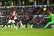Derby County forward Tom Lawrence (10) shoots at goal  during the EFL Sky Bet Championship match between Derby County and Aston Villa at the Pride Park, Derby, England on 10 November 2018.