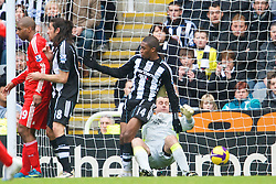 NEWCASTLE, ENGLAND - Sunday, December 28, 2008: Liverpool's Sami Hyypia scores the second goal past Newcastle United's goalkeeper Shay Given during the Premiership match at St James' Park. (Photo by David Rawcliffe/Propaganda)