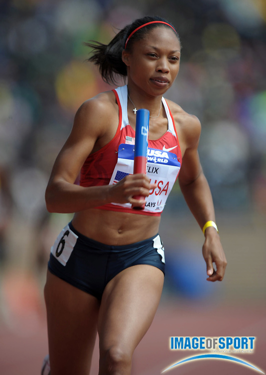 Apr 28, 2012; Philadelphia, PA, USA; Allyson Felix runs the second leg on the USA Red womens 4 x 400m relay team to victory in the USA vs The World race in 3:21.18 in the 118th Penn Relays at Franklin Field.