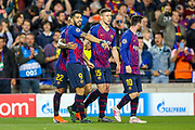 Goal Barcelona forward Luis Suárez (9) scores and celebrates a goal 1-0 during the Champions League semi-final leg 1 of 2 match between Barcelona and Liverpool at Camp Nou, Barcelona, Spain on 1 May 2019.