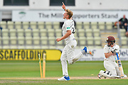 (caption correction) Wicket - Dillon Pennington of Worcestershire celebrates taking the wicket of Ollie Pope of Surrey during the final day of the Specsavers County Champ Div 1 match between Worcestershire County Cricket Club and Surrey County Cricket Club at New Road, Worcester, United Kingdom on 13 September 2018.