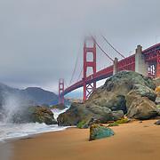 Golden Gate Bridge - Marshall's Beach Crashing Wave - HDR