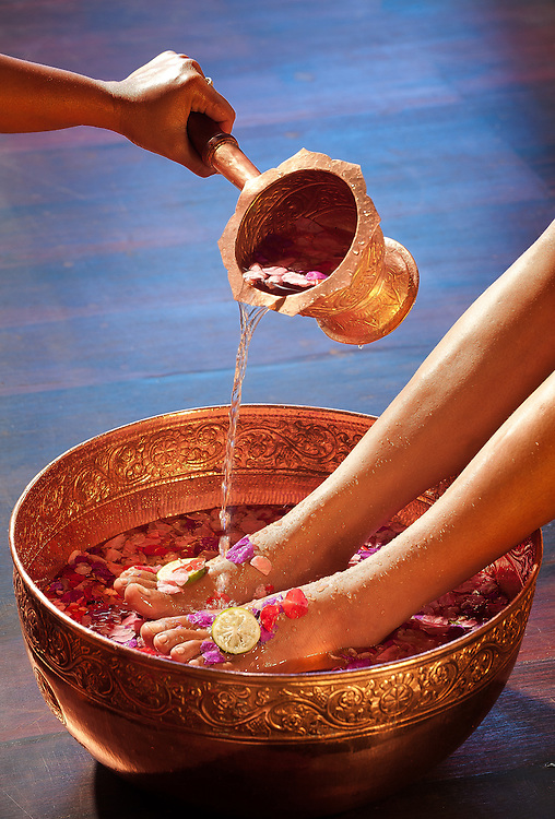 A traidiontal foot cleansing purifies and refreshes.