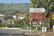 Entrance sign to Kineret Yard in Moshavat Kinneret, Galilee, Israel