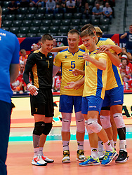 13-09-2019 NED: EC Volleyball 2019 Czech Republic - Ukraine, Rotterdam<br /> First round group D / Oleh Plotnytskyi #5 of Ukraine, Horden Brova #7 of Ukraine, Vladyslav Didenko #11 of Ukraine
