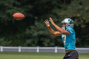 Carolina Panthers cornerback Ross Cockrell (47) catches a pass during training camp at Wofford College, Sunday, August 11, 2019, in Spartanburg, S.C. (Brian Villanueva/Image of Sport)