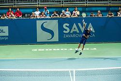 Tom Kocevar Desman during mens final of Zavarovalnica Sava tournament at ATP Challenger Zavarovalnica Sava Slovenia Open 2019, day 2, on August 10th 2019 in Sports centre, Portoroz/Portorose, Slovenia. Photo by Grega Valancic / Sportida