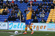 Mansfield Town midfielder Alex MacDonald (7) takes a corner kick during the EFL Sky Bet League 2 match between Mansfield Town and Grimsby Town FC at the One Call Stadium, Mansfield, England on 4 January 2020.