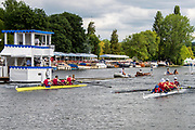 Henley on Thames, England, United Kingdom, 6th July 2019, Henley Royal Regatta, a heat of the Prince Albert Challenge Cup, Harvard University take the win against Oxford Brooks University  from the base, of the press Box,  [© Peter SPURRIER/Intersport Image]<br /> <br /> 10:36:53 1919 - 2019, Royal Henley Peace Regatta Centenary,