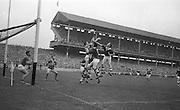 All Ireland Minor Football Final Kerry v. Westmeath, Croke Park..Kerry's S. Murrey and B. Glynn outleap the Westmeath forwards during this attack on the Kerry goal. 22.09.1963
