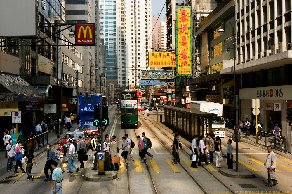 View from the tram in central Hong Kong
