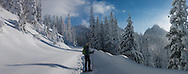 Snowshoeing in Mt. Rainier National Park in Washington State.