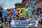 Athens Commnuity members participate in the city's  first PRIDE PARADE. The parade is part of Athens Pride Fest, a  week long celebration of solidarity, diversity, unity, and activism. Photo by Ben Siegel