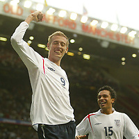 Photo: Aidan Ellis.<br /> England v Andorra. European Championships 2008 Qualifying. 02/09/2006.<br /> England's Peter Crouch celebrates the fifth goal scored by him self