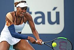 March 24, 2019 - Miami, FL, USA - Venus Williams returns a ball hit by Daria Kasatkina on Sunday, March, 24, 2019 at the Miami Open in Miami Gardens, Fla. (Credit Image: © Charles Trainor Jr/Miami Herald/TNS via ZUMA Wire)