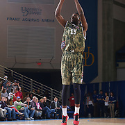 Delaware 87ers Forward Norvel Pelle (15) takes a jump shot in the second half of a NBA D-league regular season basketball game between the Delaware 87ers (76ers) and Springfield Armor (Brooklyn Nets) Saturday, Apr. 05, 2014 at The Bob Carpenter Sports Convocation Center, Newark, DEL.