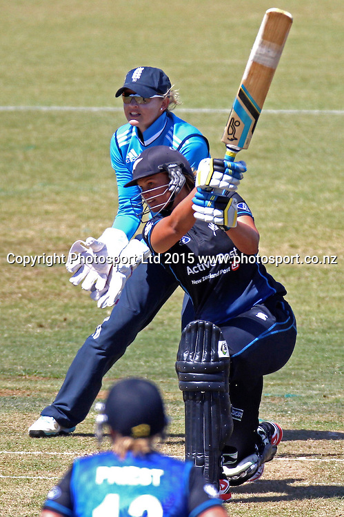 Suzie Bates batting. 1st one day international, womens cricket match at Bay Oval, Mt Maunganui, 11 February 2015. Copyright Photo: Margot Butcher / www.photosport.co.nz