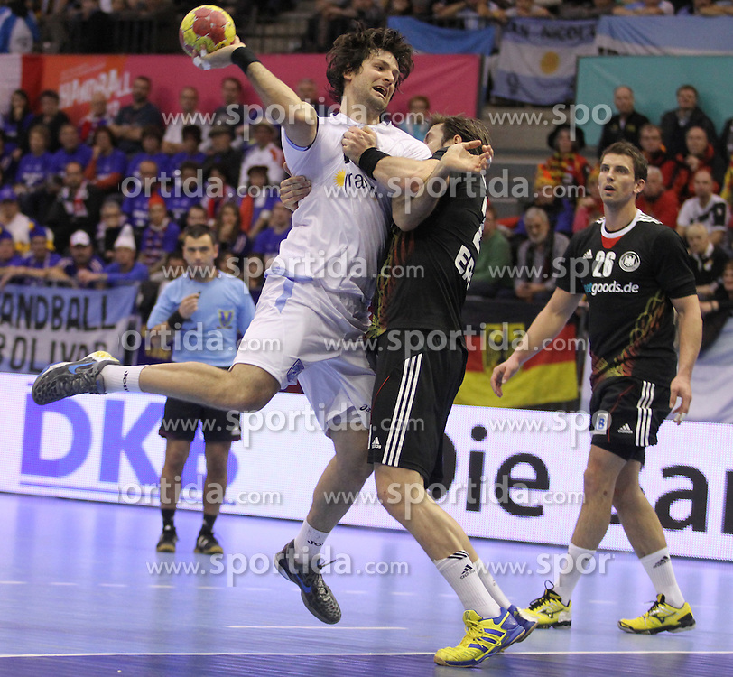 15.01.2013 Granollers, Spain. IHF men's world championship, prelimanary round. Picture show Gonzalo Matias Carou Marcel    in action during game between Germany v Argentina at Palau d'esports de Granollers / Sportida Photo Agency