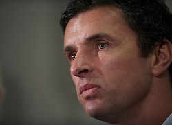 CARDIFF, WALES - Tuesday, December 14, 2010: Wales' new manager Gary Speed during a press conference at the Vale of Glamorgan Hotel after his appointment by the Football Association of Wales. (Pic by: David Rawcliffe/Propaganda)