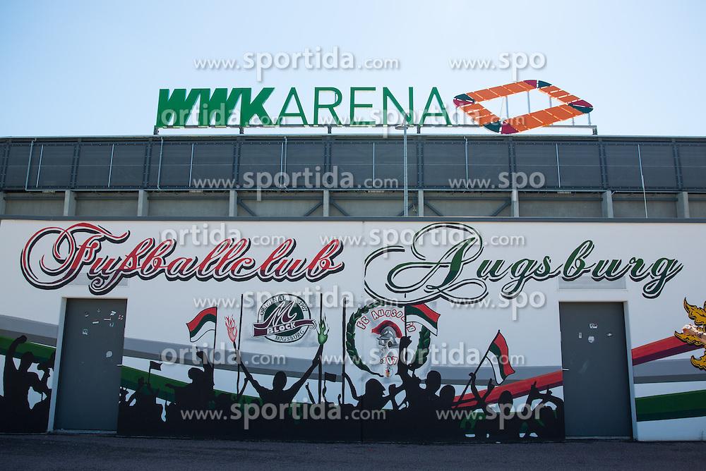29.08.2015, WWK Arena, Augsburg, GER, 1. FBL, FC Augsburg vs FC Ingolstadt 04, 3. Runde, im Bild WWK-Arena Augsburg mit neuem Schriftzug, Ansicht von Norden, // during the German Bundesliga 3rd round match between FC Augsburg and FC Ingolstadt 04 at the WWK Arena in Augsburg, Germany on 2015/08/29. EXPA Pictures &copy; 2015, PhotoCredit: EXPA/ Eibner-Pressefoto/ Krieger<br /> <br /> *****ATTENTION - OUT of GER*****
