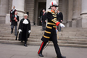 The City Marshal during the traditional ceremony of the proclamation of the dissolution of Parliament, on the day that David Cameron announces the beginning of theh 2015 election campaign.City Officers and officials help proclaim the disolving of parliament on the day that the period of Britain's general election starts. Accompanied by constables in cloaks, the three Esquires: The City Marshall, the Sword Bearer and the Mace Bearer (who is properly called 'the Common Cryer and Sergeant-at-arms'); who run the Lord Mayor's official residence, announces from the steps of Royal Exchange, Cornhill, to the capital's ancient financial district.