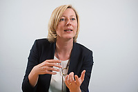 15 MAY 2013, BERLIN/GERMANY:<br /> Prof. Dr. Gesche Joost, Professorin an der Universitaet der Kuenste Berlin, Fachgebiet Designforschung, und Mitglied im Kompetenzteam von SPD Kanzlerkandidat P eer S teinbrueck,<br /> waehrend einem Interview, Willy-Brandt-Haus<br /> IMAGE: 20130515-01-005<br /> KEYWORDS: Wahlkampfteam