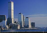 Manhattan Skyline Sunset, Hudson River Twin Towers of the World Trade Center, designed by Minoru Yamasaki, Manhattan, New York City, New York,