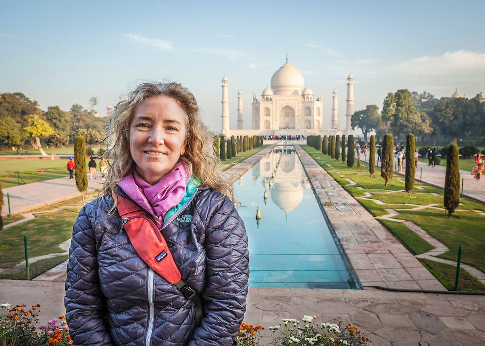 Portrait of a woman at the Taj Mahal in Agra, India.
