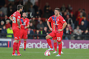 York City wait to kick off after conceding  during the Sky Bet League 2 match between York City and AFC Wimbledon at Bootham Crescent, York, England on 24 October 2015. Photo by Simon Davies.