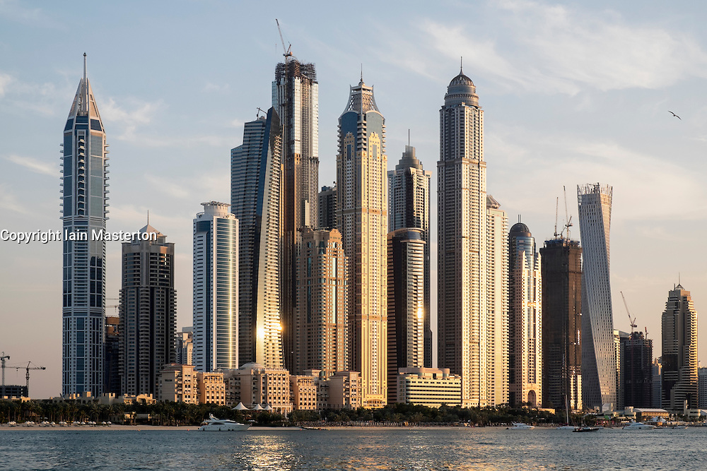 Skyline of skyscrapers  at Marina district in Dubai United Arab Emirates