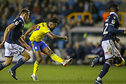Birmingham City midfielder Jacques Maghoma (19) shoots towards the goal during the EFL Sky Bet Championship match between Millwall and Birmingham City at The Den, London, England on 28 November 2018.