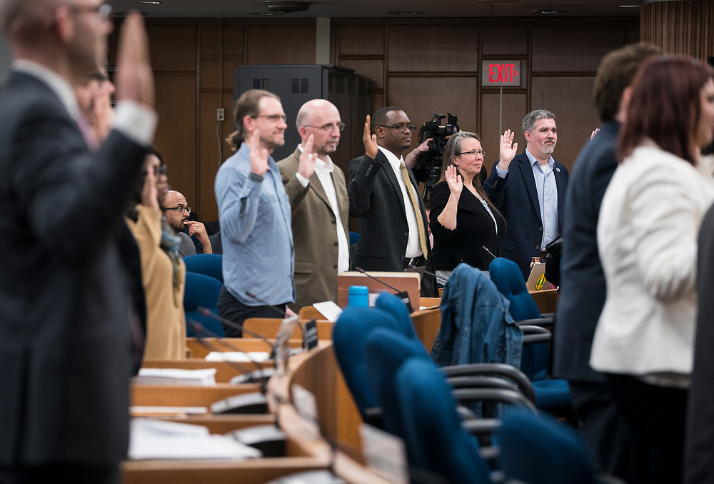 Incoming Madison Alders are sworn in at the City County Building in Madison, WI on Tuesday, April 16, 2019.