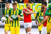 DEN HAAG - 21-04-2016, ADO Den Haag - AZ, Kyocera Stadion, teleurstelling bij AZ speler Ron Vlaar na de 1-1 van ADO Den Haag speler Tommie Beugelsdijk