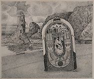 WURLITZER ON THE BEACH, ink drawing, 1987
