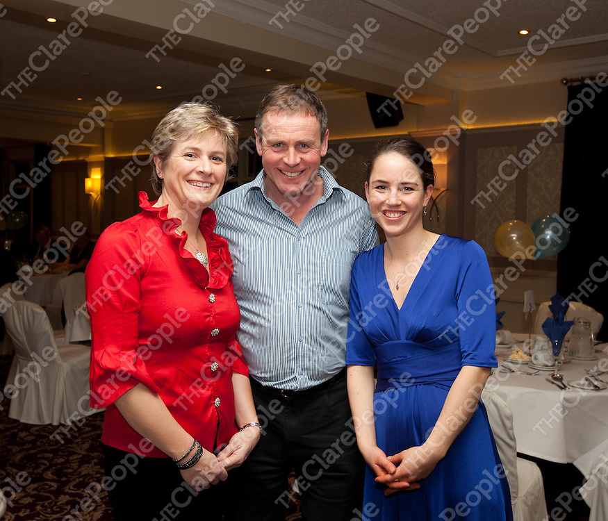 Anne Blake, John Clancy and Monika Arnold at the County Sports Stars awards held at the Auburn Lodge.  Pic Press 22.