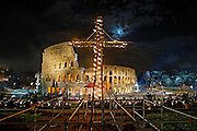 Rome april 3rd 2015, Holy Friday, pope leads Via Crucis (Way of the Cross) at Colosseum. In the picture the Colosseum - © PIERPAOLO SCAVUZZO