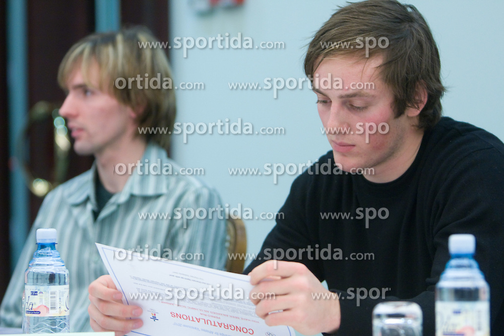 Rok Perko at press conference when he has signed a contract with IOC and OKS for 16 months long sponsorship (1500 $ monthly) till Olympic games in Vancouver 2010, on December 22, 2008, Grand hotel Union, Ljubljana, Slovenia. (Photo by Vid Ponikvar / SportIda).