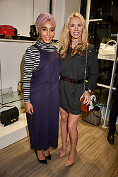 Left to right, Mariah Idrissi and Naomi Isted at a party to launch Ashley Robert's new footwear range Allyn held ay Larizia, 74 St.John's Wood High Street, London England. 8 February 2017.