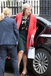 Downing Street, London, April 19th 2016. Home Secretary Theresa May arrives at Downing Street for the weekly cabinet meeting.